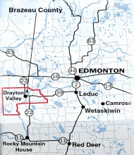 Click here to see an enlargement of where Breton is in relation to major cities in Alberta.